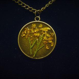 Pandantiv Epoxy Vintage Yellow Flowers